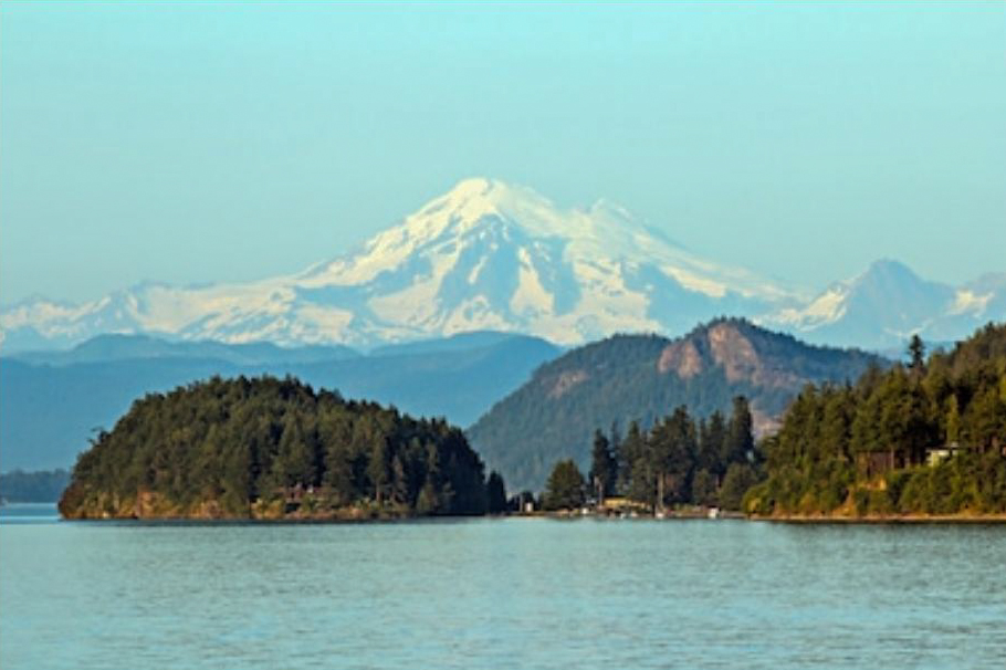 San Juan Islands lighthouse with Mount Baker in the background